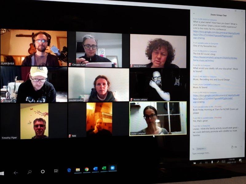 Christie Huff et le musicien Guillaume Jabbour communiquant par ZOOM avec quelques artistes afin de planifier des ateliers virtuels.