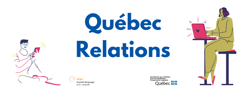 Quebec Relations, image with people on their devices getting updates