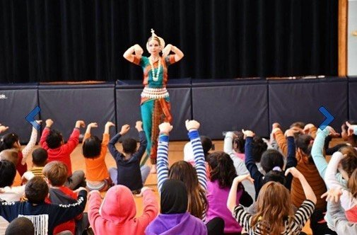 Sonia performing North Indian Classical dance to students in Quebec