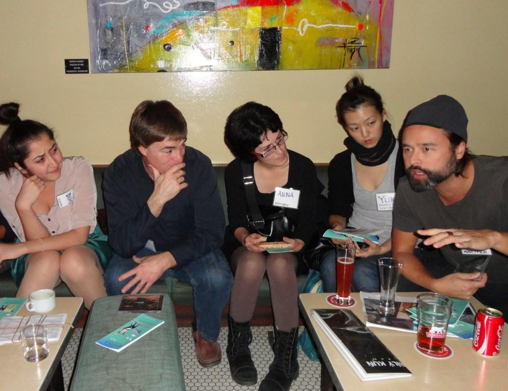 3. ELAN Schmoozer at Bily Kun. l-r Dima Karout, Dan Webster, Anna, Yuki, Courtney Wing.