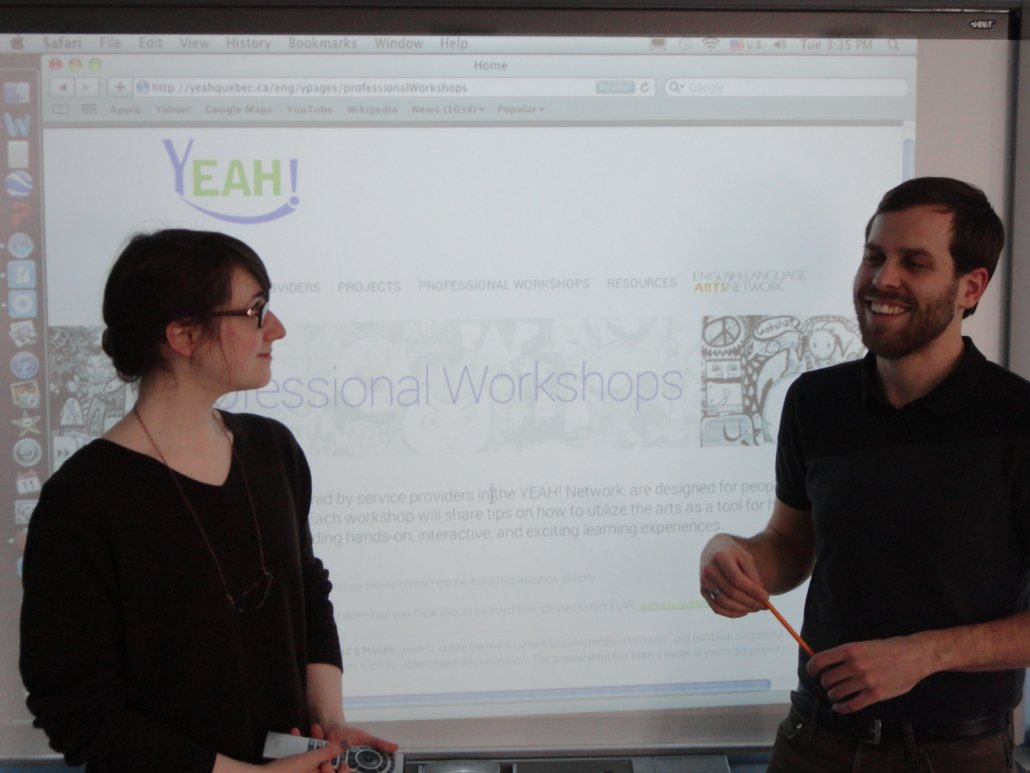 Amy Macdonald and Jesse Stong, on-line launch of YEAH! project to all regions of Quebec via Community Learning Centres network.