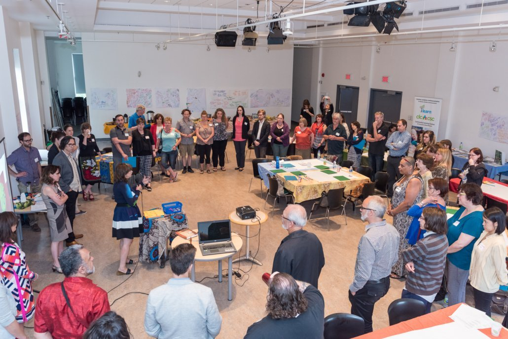 ACE planning session with 50 artist and educators from all regions of Quebec. Project Manager Christie Huff. Photo Julia Stringhetta